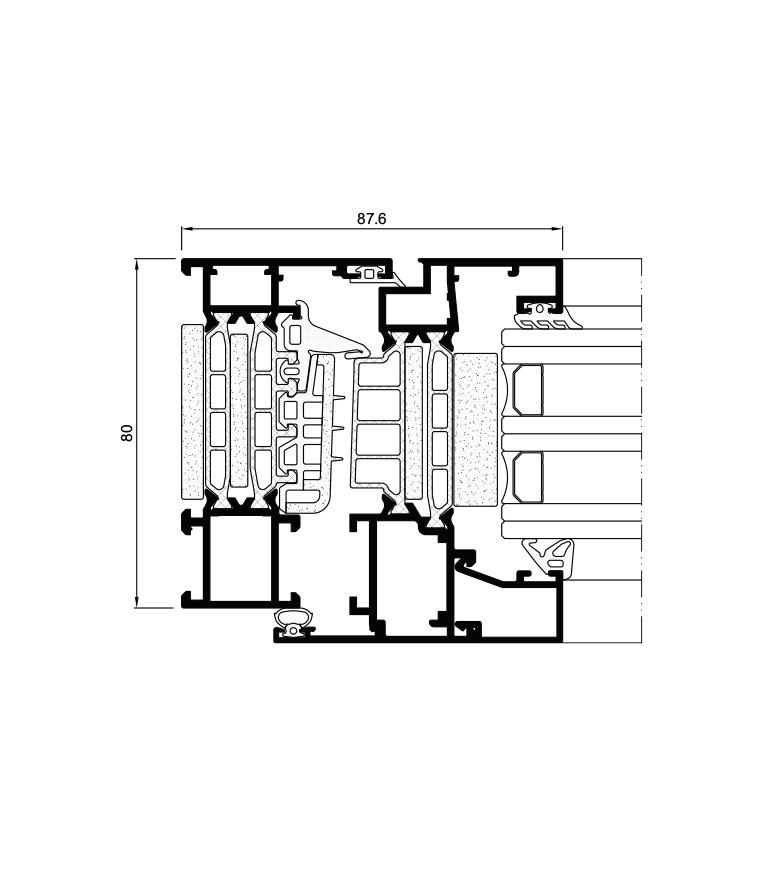 Sección del sistema Cor 80 Industrial RPT / Passivhaus